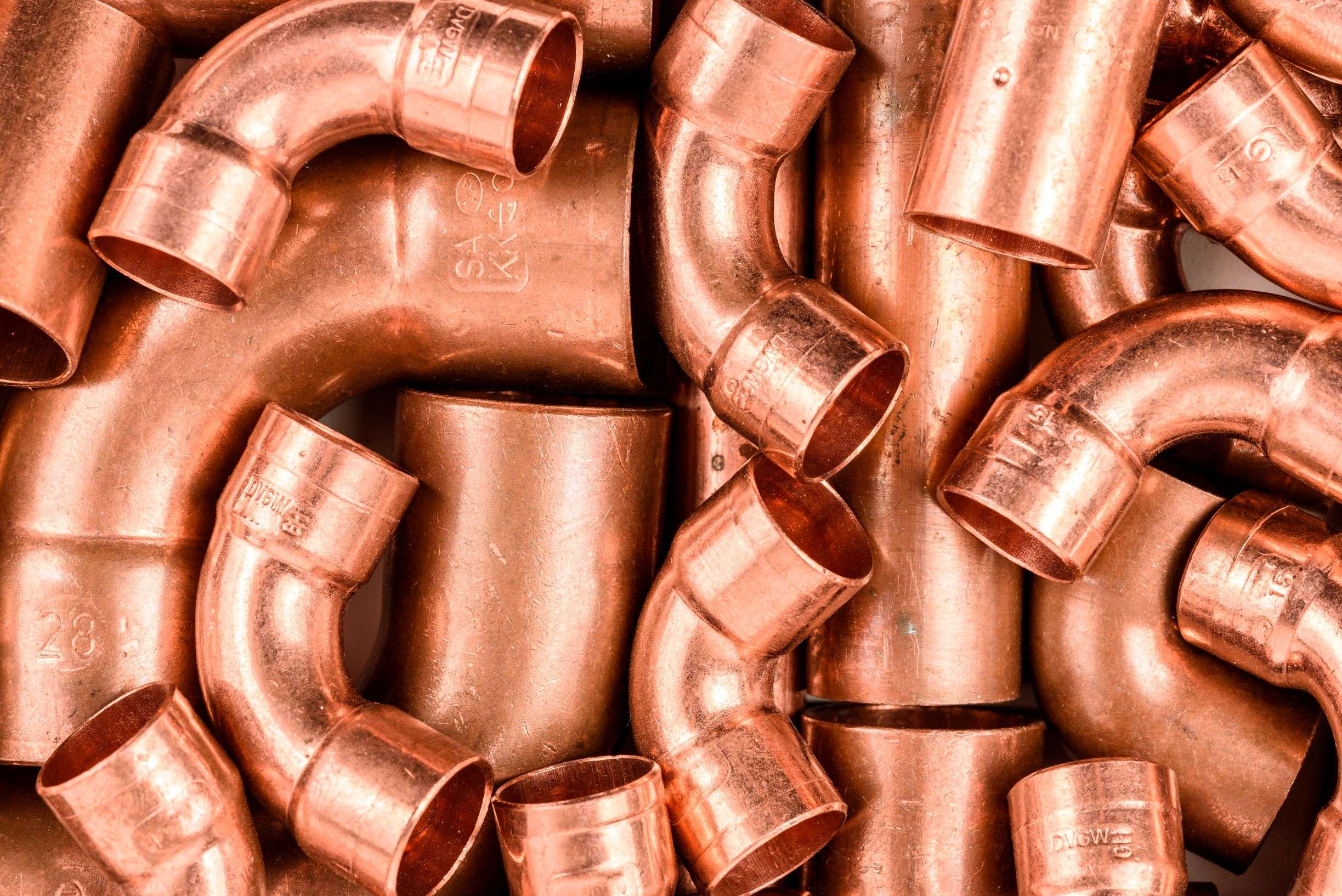 Copper elbows for plumbing